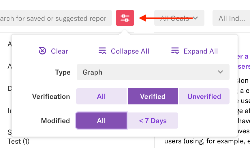 An arrow pointing to the quick switcher icon as it appears on the reports page