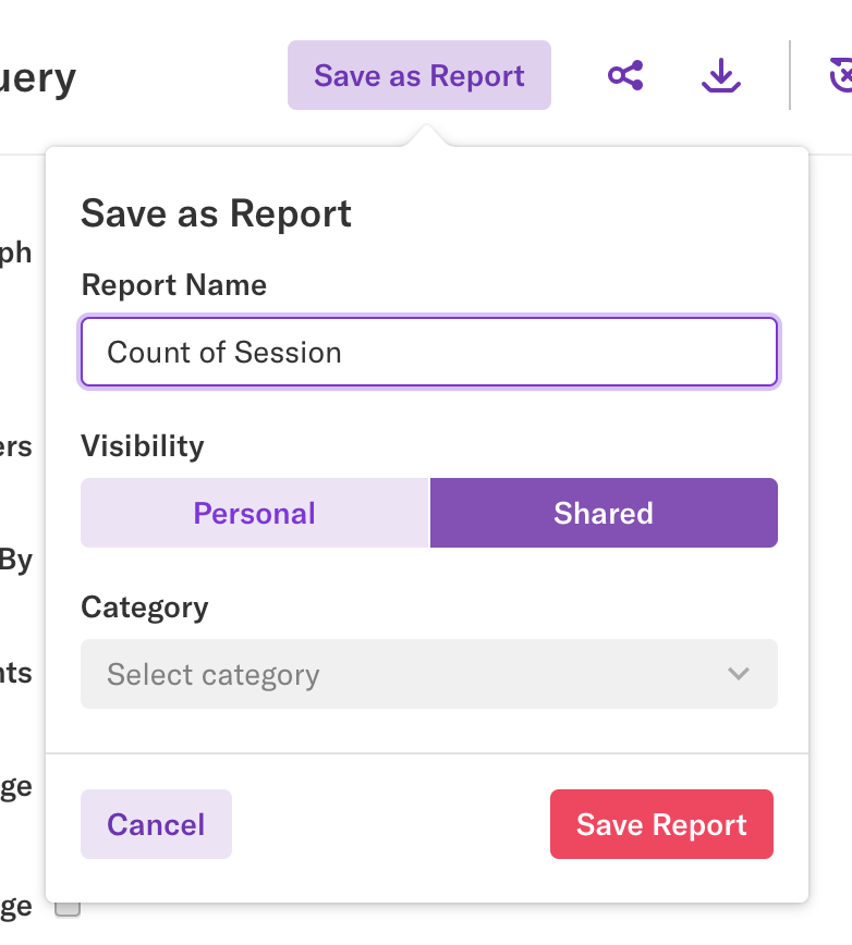 A report being saved with the name Count of Session