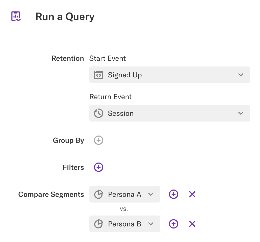 Retention query of Signed Up > Session comparing segments Persona A vs. Persona B