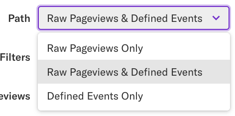 The Path drop-down open with Raw Pageviews & Defined Events selected