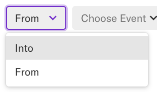 The From drop-down in the Paths module with Into selected.