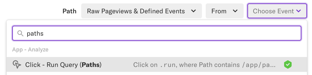 The Path module with the 'Choose Event' drop-down and the event 'Click - Run Query (Paths)' selected