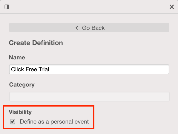 The 'Create Definition' tab in the Event Visualizer with the Visibility checkbox checked