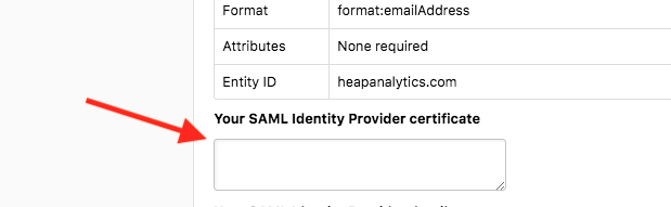 The Single Sign-on section in Heap with an arrow pointed at the 'Your SAML Identity Provider Certificate' field