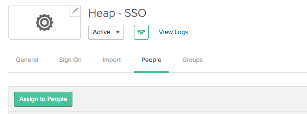 The Heap - SSO app in Okta with the 'Assign to People' button showcased