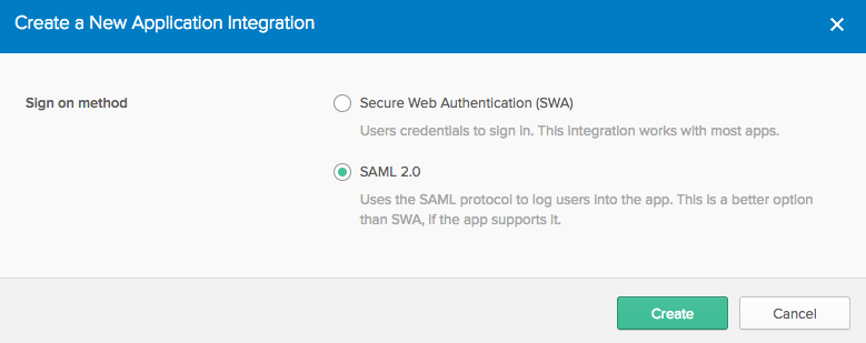 The 'Create a New Application Integration' page in Okta with SAML 2.0 selected