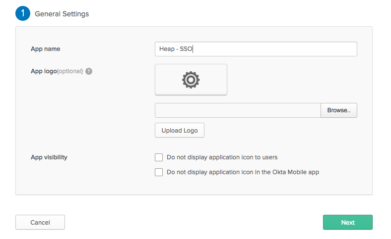 The General Settings page in Okta with the App name set to 'Heap - SSO'
