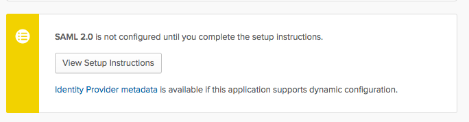 The 'View Setup Instructions' pop-up in Okta