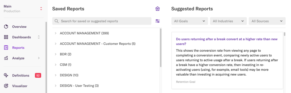 The reports page with the suggested reports pane open on the right