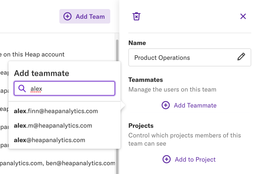 The details pane of the 'Product Operations' team with the 'Add Teammate' pop-up open and a search for 'Alex'