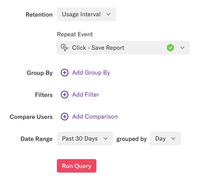 A Usage Interval retention report with the repeat event 'Click - Save Report' selected