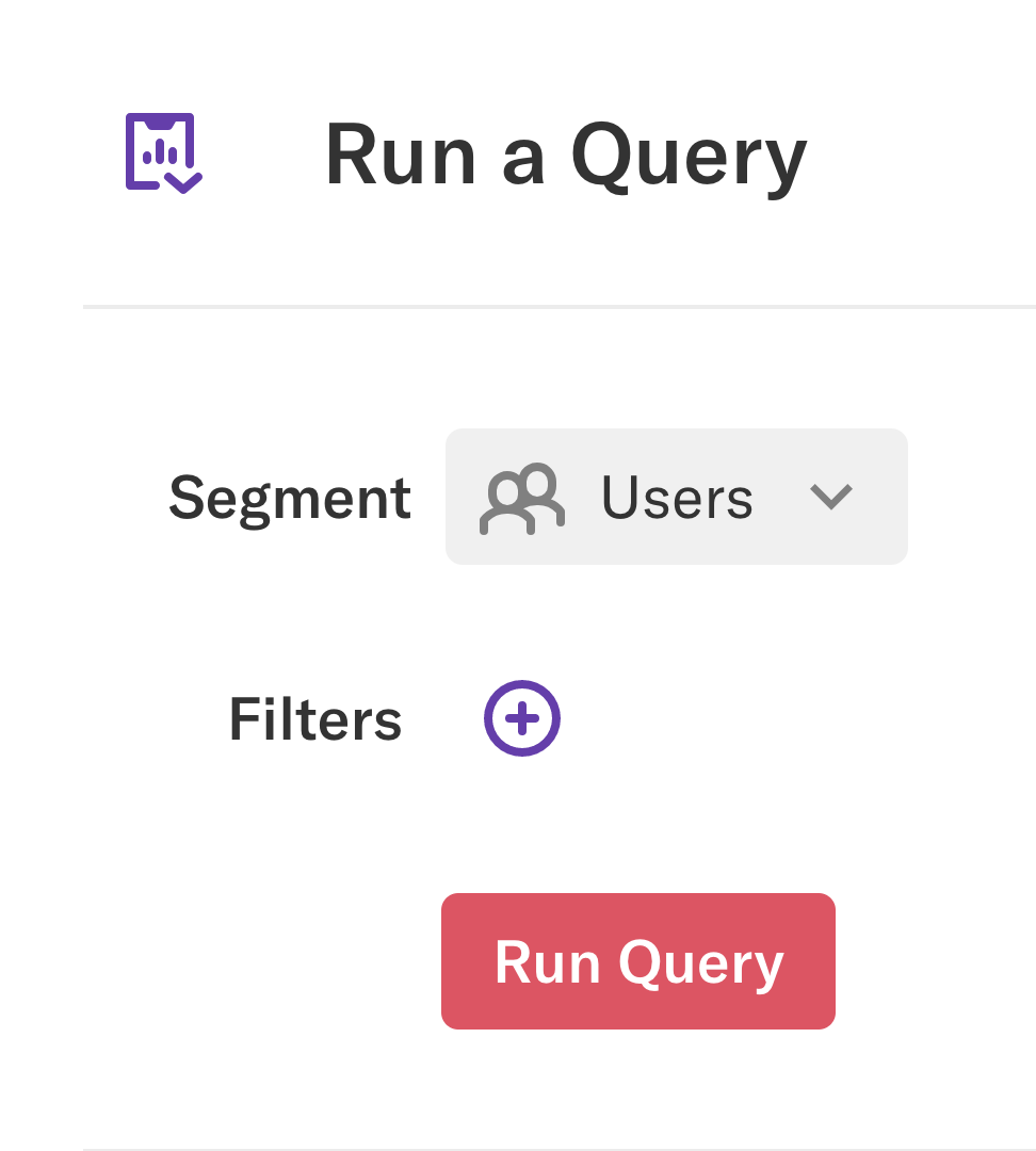The 'Run a Query' section with Segment selected as 'Users'