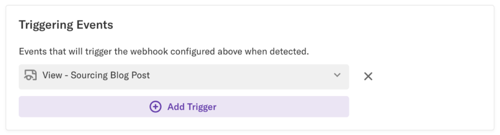 The Triggering Events field of the Basic Configuration page with the URL provided