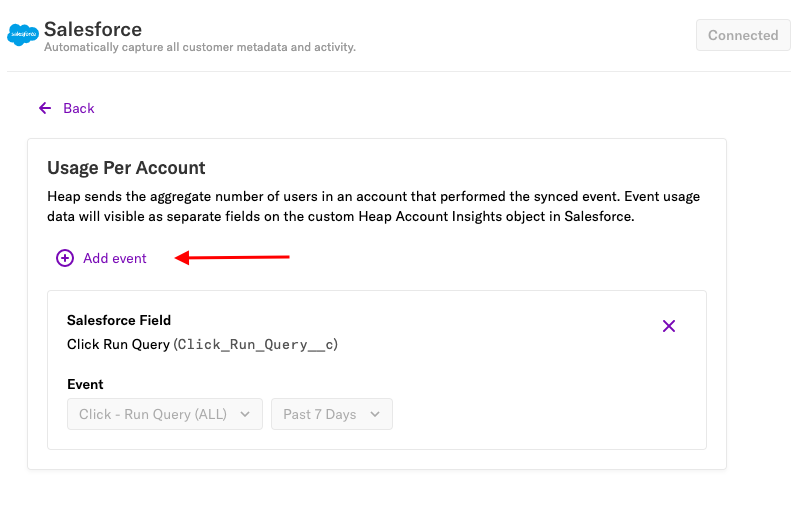 The Usage Per Account section of the Salesforce source page with an arrow pointing to the 'Add event' button