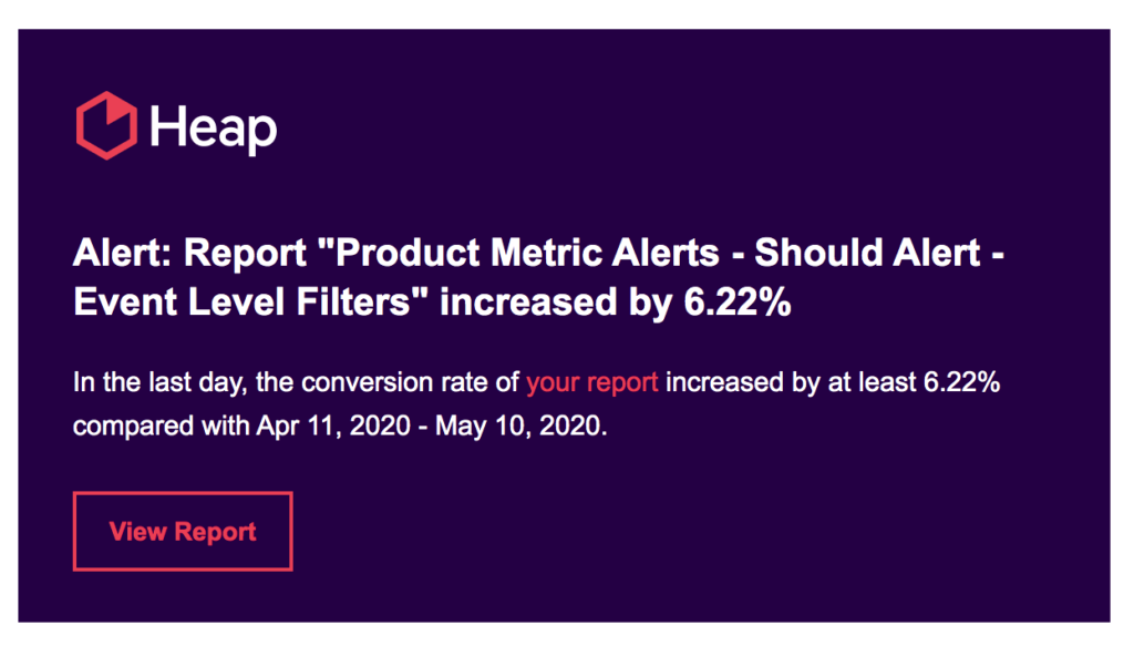 An email stating that an Alert has increased by 6.22%