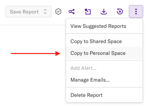A report with the 'More options' drop-down open and an arrow pointing to the 'Copy to Personal Space' option
