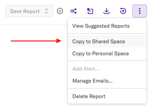 A report with the 'More options' drop-down open and an arrow pointing to the 'Copy to Shared Space' option