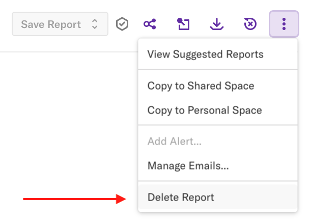 The delete report option under the more options drop-down where it appears on the report page