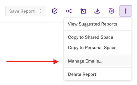 The more options drop-down on the report details page with an arrow pointed at the 'Manage Emails...' section