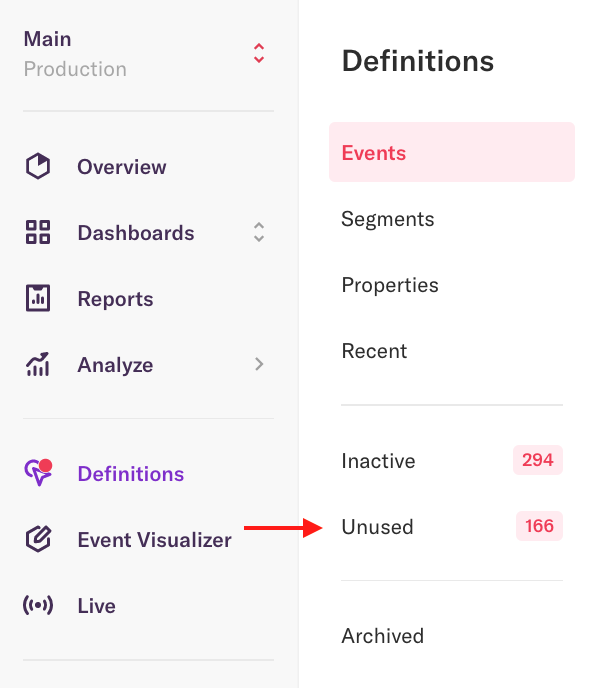 The events page with an arrow pointing to the unused tab