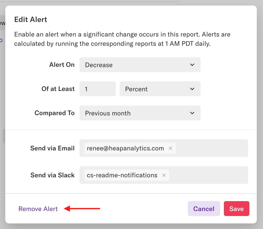 The 'Edit Alert' pop-up with an arrow pointing to the 'Remove Alert' button