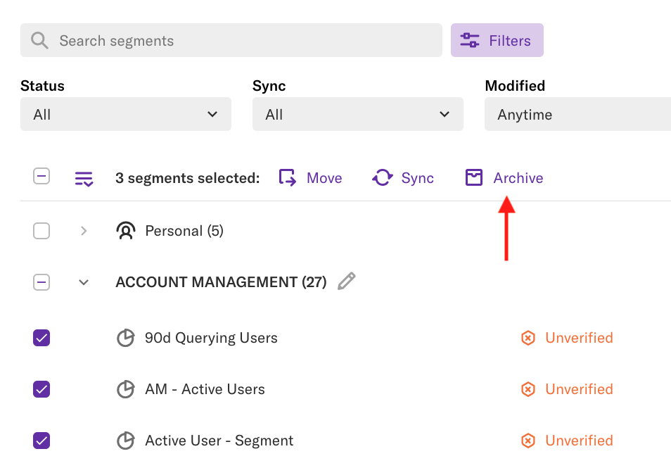 Multiple check boxes next to segments selected, and an arrow pointing to the 'archive' button on the segment details page