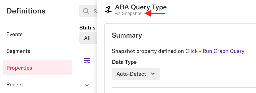 An 'ABA Query Type' property with an arrow pointed at the text 'Via Snapshot' below the property title