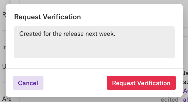 The request verification pop-up where you can enter text about the request