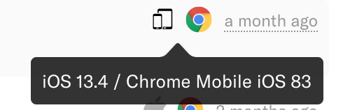 The iOS and Chrome icons with the text 'iOS 13.4 / Chrome Mobile iOS 83' appearing on hover