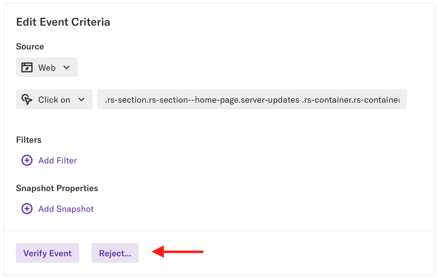 The edit event criteria section of a pending event with an arrow pointing at the 'Reject' button