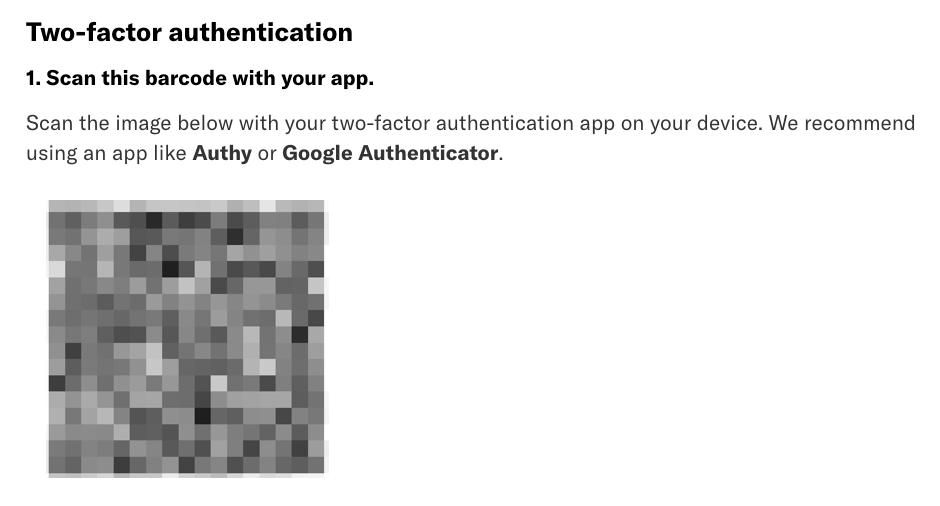 The two-factor authentication section with the barcode displayed