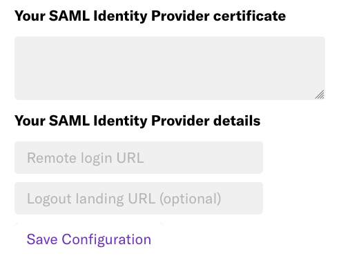 The SAML identity provider certificate and identity provider details fields as listed on the General Settings page in Heap