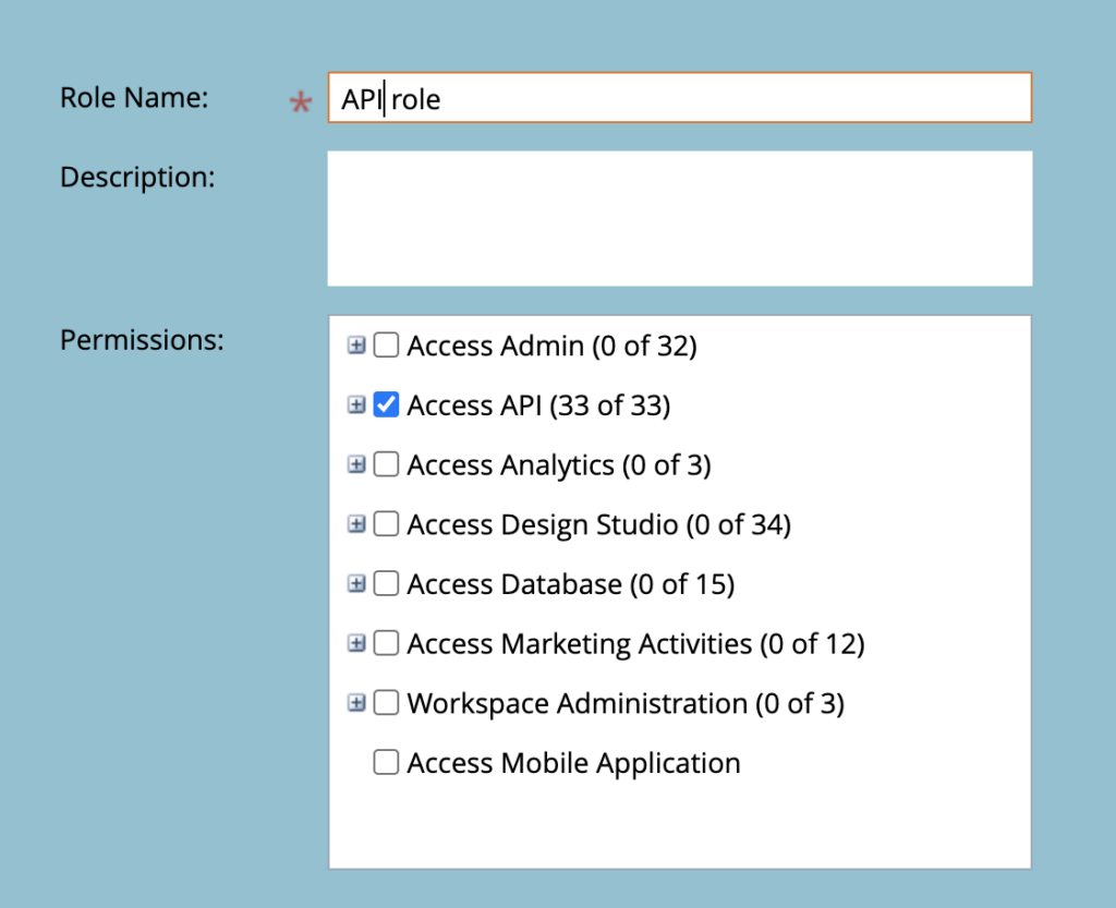 Marketo's page for setting permissions with the role name 'API role' set and the permission 'Access API' checked